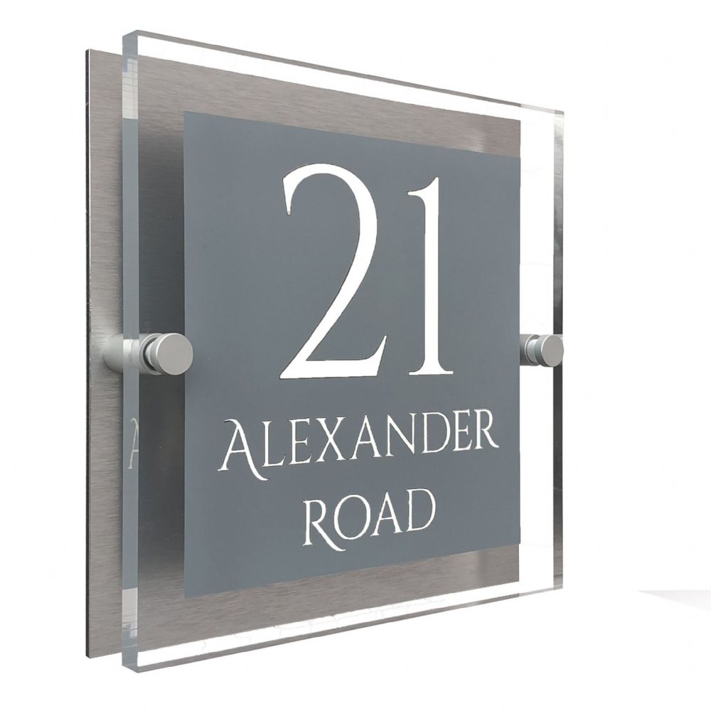 Block Shape - Clear Acrylic House Sign - Mid Grey Colour with White text in Font  1